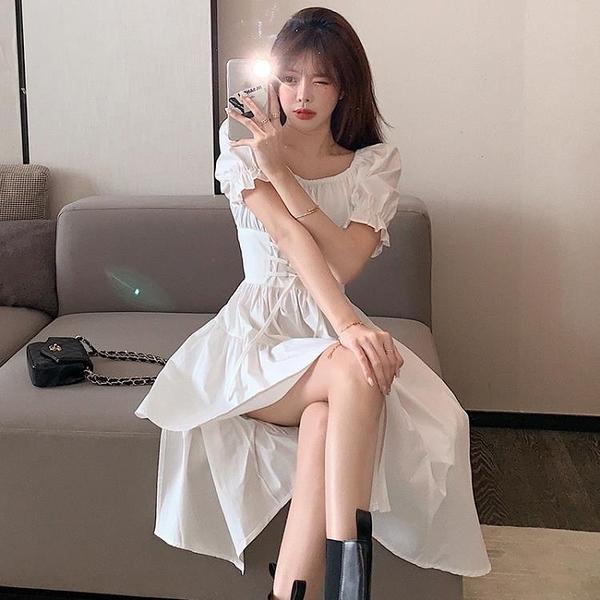 辣妹裝 法式小黑裙子女2021夏季新款中長款不規則氣質收腰顯瘦 連衣裙