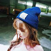 帽子女冬天潮韓國簡約百搭黑色保暖針織帽子男加絨字母韓國毛線帽
