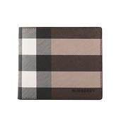 【BURBERRY】環保帆布格紋8卡對開短夾(暗樺木棕色) 8036666 A8900