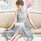 88091-S浪漫宮廷風蕾絲無袖中長裙洋裝小禮服~婚禮/謝師宴~美之札