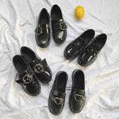 英倫學院風小皮鞋百搭秋冬學生單鞋一腳蹬樂福鞋豆豆鞋女 潔思米