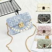 手工編織包包diy材料包手混線珍珠手提斜背包【時尚大衣櫥】