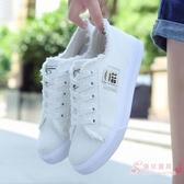 小白鞋正韓系帶學生運動鞋帆布鞋女夏季拉毛平底平跟休閒牛仔布鞋 【快速出貨】