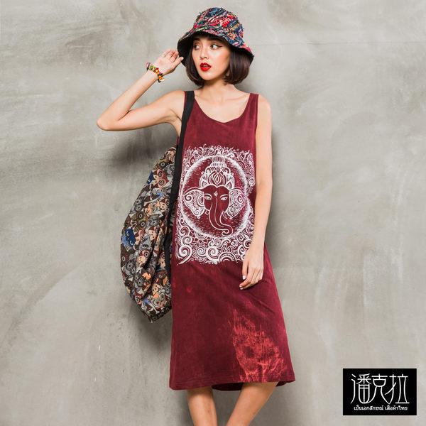 方型象神圖騰石洗連身裙(紅色)-F【潘克拉】