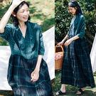 洋裝-色織亞麻綠色格子復古寬鬆長裙/設計家 Q9432