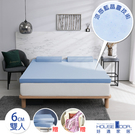 House Door 防蚊防螨6cm藍晶靈涼感記憶薄墊全配組-雙人雪花藍
