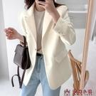 小西服女韓版寬鬆休閒2020新款網紅上衣炸街白色氣質職業西裝外套【快速出貨】
