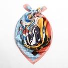 韓國復古文藝裝飾百貨商店小方巾領巾小絲巾頭巾手腕巾女 黛尼時尚精品