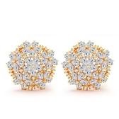 耳環 純銀鍍18K金鑲鑽-經典造型生日情人節禮物女飾品73cr119【時尚巴黎】