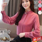 折垂帶領燈籠袖襯衫+別針(4色)M~3XL【801024W】【現+預】☆流行前線☆