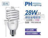 PHILIPS飛利浦 28W 865 6500K 白光 E27 120V 麗晶 螺旋省電燈泡 _ PH160056
