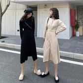 洋裝秋冬新款韓版寬鬆百褶裙中長款針織洋裝女收腰顯瘦A字裙子 蜜拉貝爾