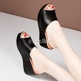 坡跟拖鞋女中跟外穿2021夏季新款防水臺厚底一字拖鞋魚嘴涼拖涼鞋 快速出貨