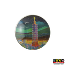 【收藏天地】台灣紀念品*水晶玻璃球冰箱貼-流星台北