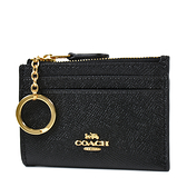 美國正品 COACH 金字防刮皮革證件鑰匙零錢包-黑色【現貨】