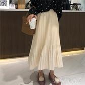 白色半身裙子仙女超仙森系韓版2019秋裝新款顯瘦高腰A字百褶裙潮 安妮塔小舖