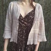 長袖罩衫-蕾絲鏤空勾花寬鬆短款女外套3色74ab19【時尚巴黎】