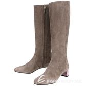 FENDI 麂皮拼接設計拉鍊粗跟長靴(灰色) 1510565-06