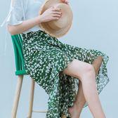 2018新款一片式半身裙春女綠色碎花魚尾裙不規則雪紡長裙女夏裙子 艾尚旗艦店