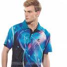 【日本Nittaku】男女吸濕排汗印刷圖騰短POLO衫-海藍#3801(排汗衫)