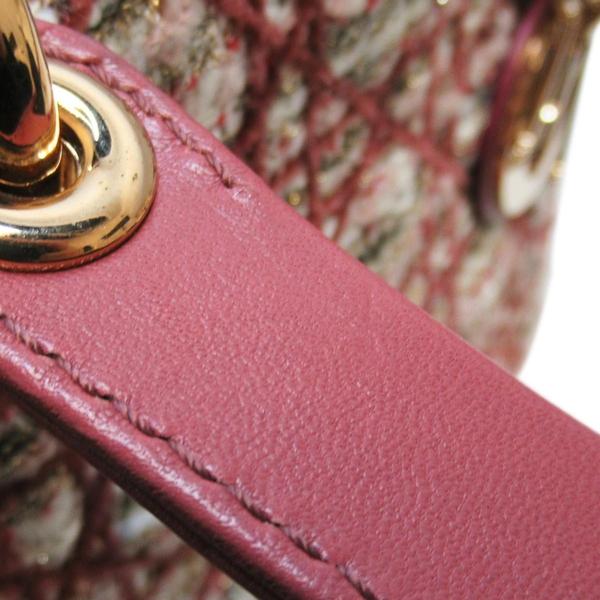 Dior 迪奧 101數量限定粉色毛呢藤格紋Cannage縫線手提肩背Medium Lady Dior BRAND OFF