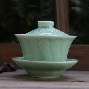 龍泉青瓷陶瓷蓋碗茶杯 功夫茶具套裝