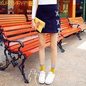 牛仔裙-新款高腰綁帶牛仔裙A字包臀半身裙女短裙-韓先生