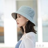 雙面漁夫帽女 潮百搭日系遮陽防曬太陽帽 帽子~小淇 ~