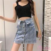 夏2019新款 韓版chic大尺碼 高腰a字牛仔短裙女 百搭包臀半身裙子