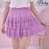 褲裙 蕾絲層次蛋糕鬆緊褲裙-Ruby s 露比午茶