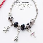 正韓 法國時尚巴黎鐵塔潘朵拉風墜飾手環