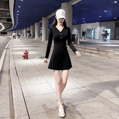 實拍女人味顯胸V領高腰A字裙赫本風小個子修身顯瘦長袖性感連衣裙.NE215D.5858胖胖唯依二店