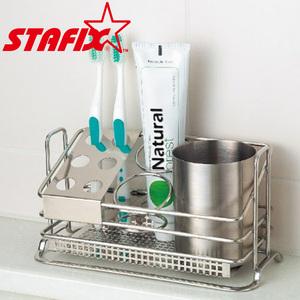 【韓國原裝進口STAFIX】不銹鋼牙膏牙刷收納架22.5X10.5X12CM