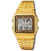【CASIO】世界城市復古摩登不鏽鋼金錶-金框(A-500WGA-9)