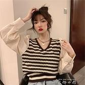 秋裝2021年新款V領條紋拼接長袖假兩件針織衫女韓版顯瘦短款上衣