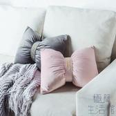 靠枕北歐純色簡約刺繡床頭沙發靠背靠墊蝴蝶結【極簡生活】