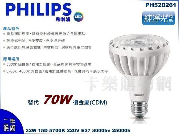 PHILIPS飛利浦 MasterLED PAR30 32W 15度 5700K 白光 220V E27 SO 燈泡  (取代 CDM 70W) _PH520261
