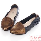 G.Ms. MIT系列-全真皮尖頭金屬爆裂紋懶人鞋*古銅金