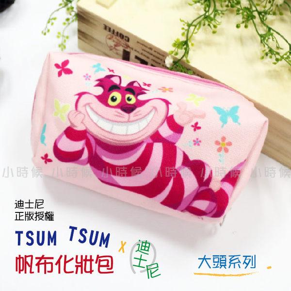 ☆小時候創意屋☆ 迪士尼 正版 大頭 妙妙貓 TSUM TSUM 帆布 化妝包 筆袋 收納包 鉛筆盒 手機包