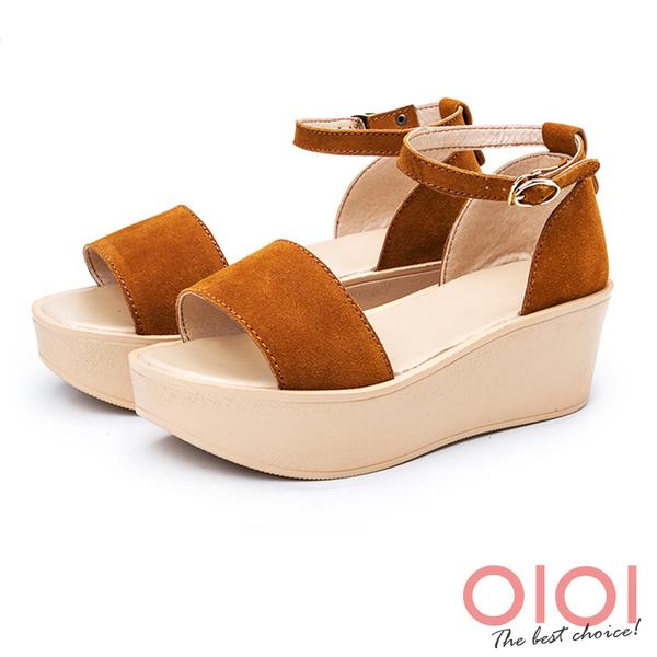 楔型涼鞋 雅緻魅力真皮厚底繫帶涼鞋(棕) *0101shoes 【18-A09br】【現貨】