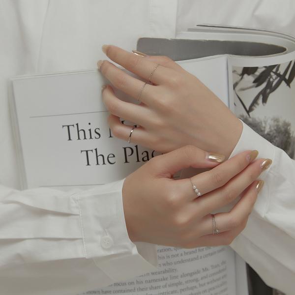 Queen Shop【07060165】珍珠心形麻花造型戒指六件組*現+預*
