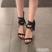高跟涼鞋2020夏季新款小ck一字帶絨面蝴蝶結仙女細跟高跟鞋露趾綁帶涼鞋女 萊俐亞