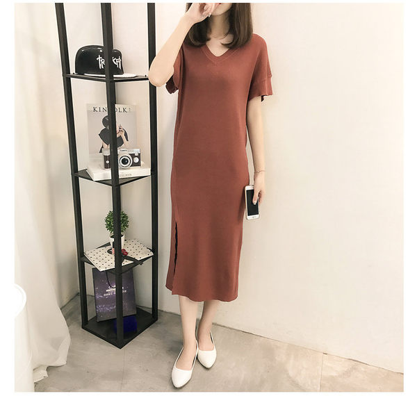 V領針織顯瘦開叉包臀連身裙