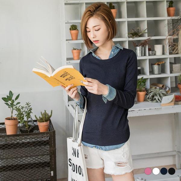 OrangeBear《FA0924》素色羅紋收邊圓領多色長袖針織上衣.4色--適 XL~5L