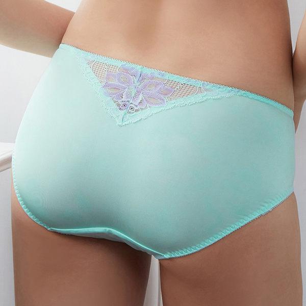 EASY SHOP-蕾絲美漾 中腰平口褲(淡雅藍)