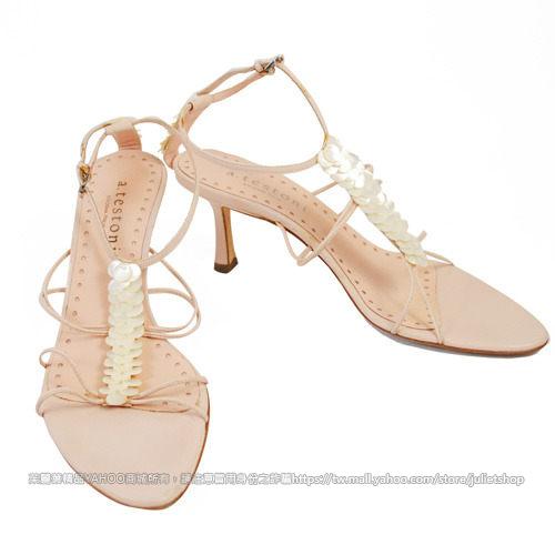 茱麗葉精品 二手名牌 【8成新】A.testoni 時尚鈕扣串飾高跟涼鞋.粉色