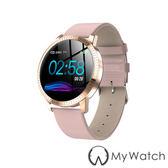 My Watch 簡約時尚生活小助理智慧手環(訊息提醒/計步)MY20粉皮錶帶