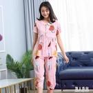 棉綢睡衣套裝女夏短袖兩件套家居服娃娃領年輕可愛可外穿款 LR23956『麗人雅苑』