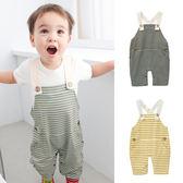 吊帶褲 純棉 休閒 條紋 男寶寶 女寶寶 連身衣 爬服 哈衣Augelute Baby 42063
