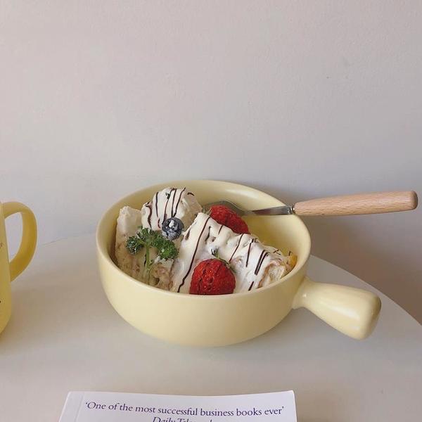 韓版ins風陶瓷泡面碗宿舍用學生手柄碗麥片沙拉碗可愛少女心帶蓋 果果輕時尚